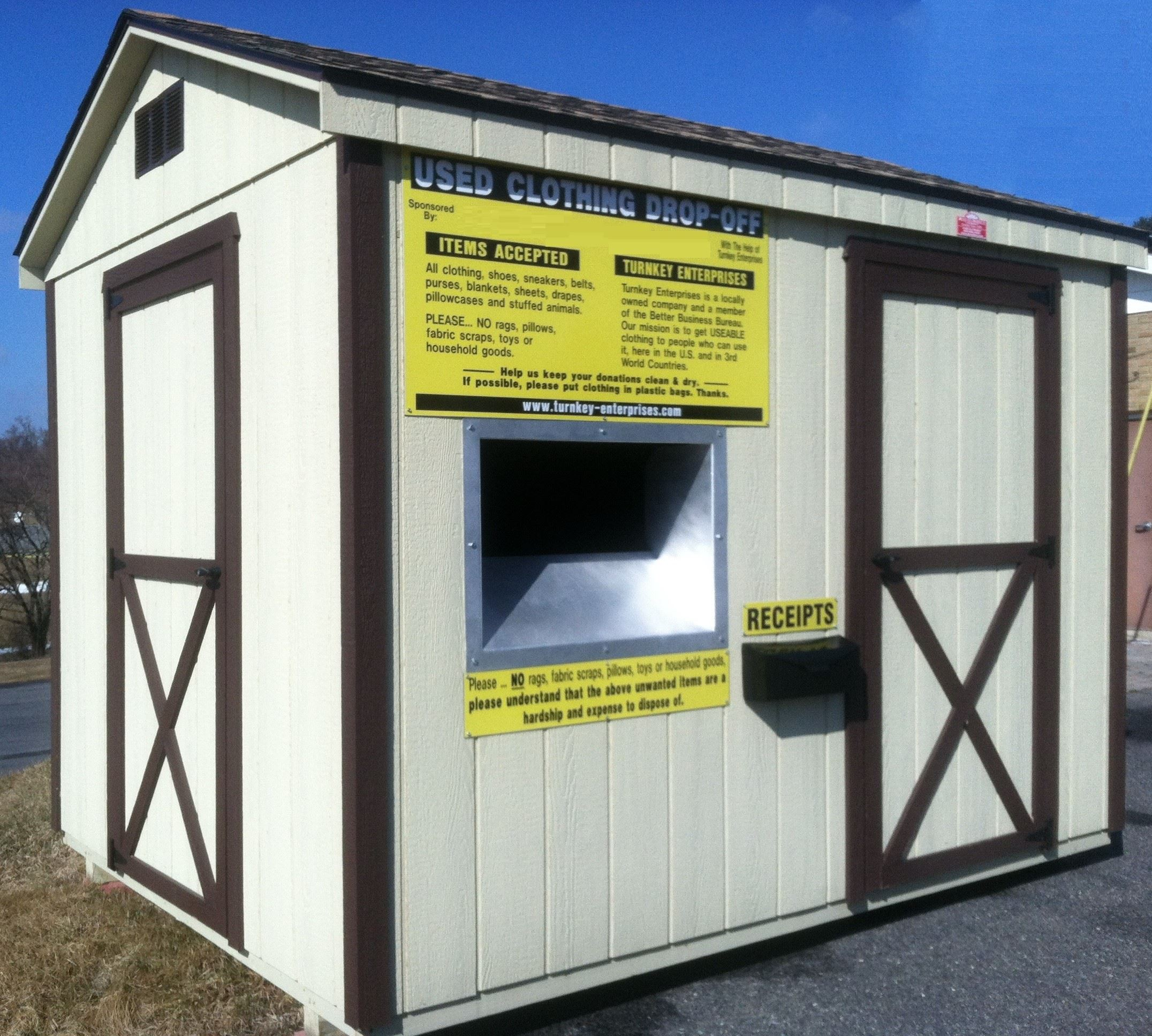 Clothing Drop Off Shed