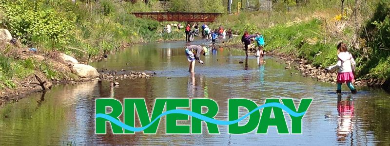RiverDay logo and Villagers in river